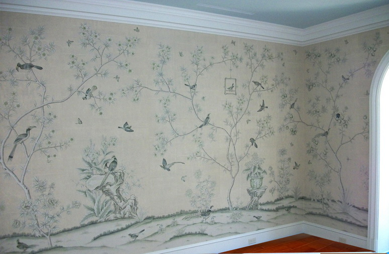 Hand painted wallpaper panels